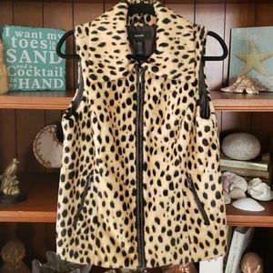 Alfani faux animal print leopord fur vest